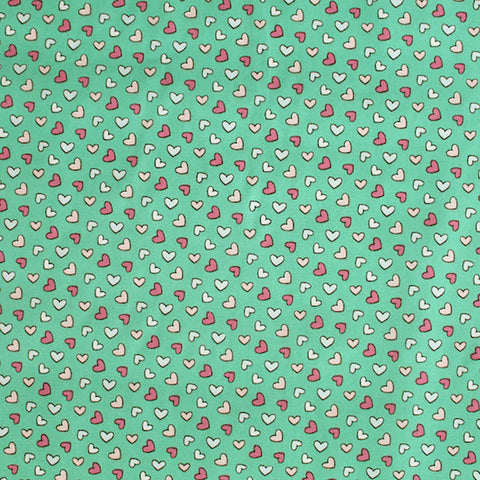 Printed Green Cotton - Love Heart