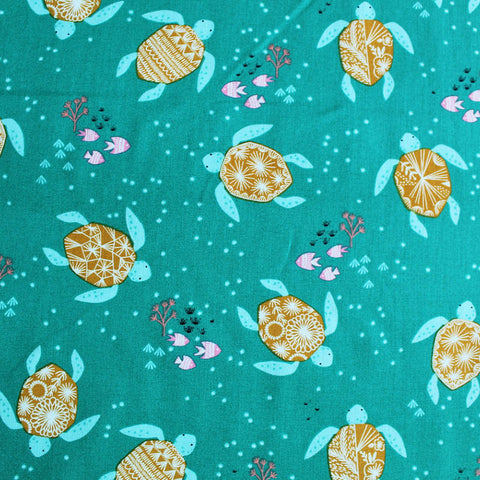 Printed Green Cotton - Terry Turtle