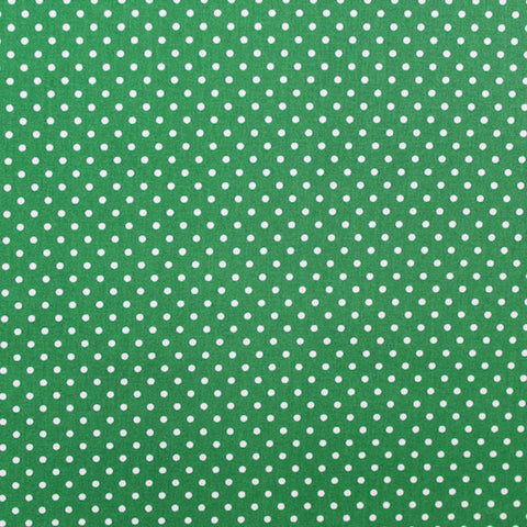 Polka Dot Cotton - Forest Green with White Spots