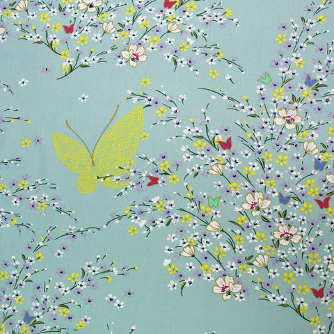 Printed Duck Egg Patchwork and Quilting Cotton - Metallic Butterfly Blossom