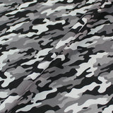 Printed Wide Width White Cotton - Grey Camo