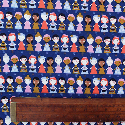 Printed Illustrated Blue Cotton - It's A Small World