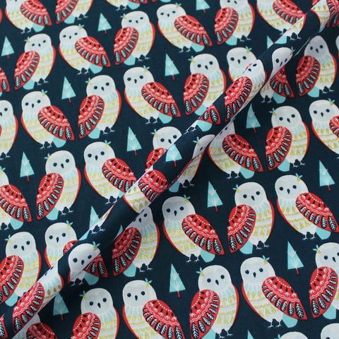 Printed Blue Metallic Bird Cotton - Alex the Owl