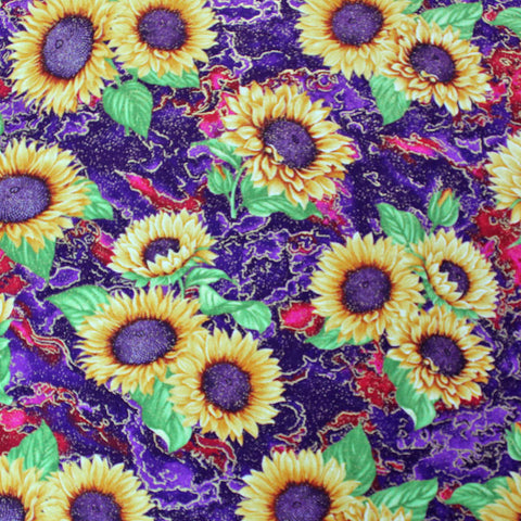 Printed Metallic Floral Cotton - Sunflowers - Purple