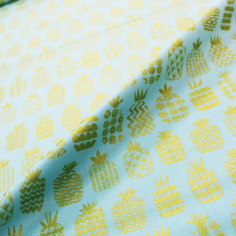 Metallic Printed Cotton - Gold Pineapples in a Row