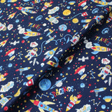 Navy Printed Cotton - Space Academy