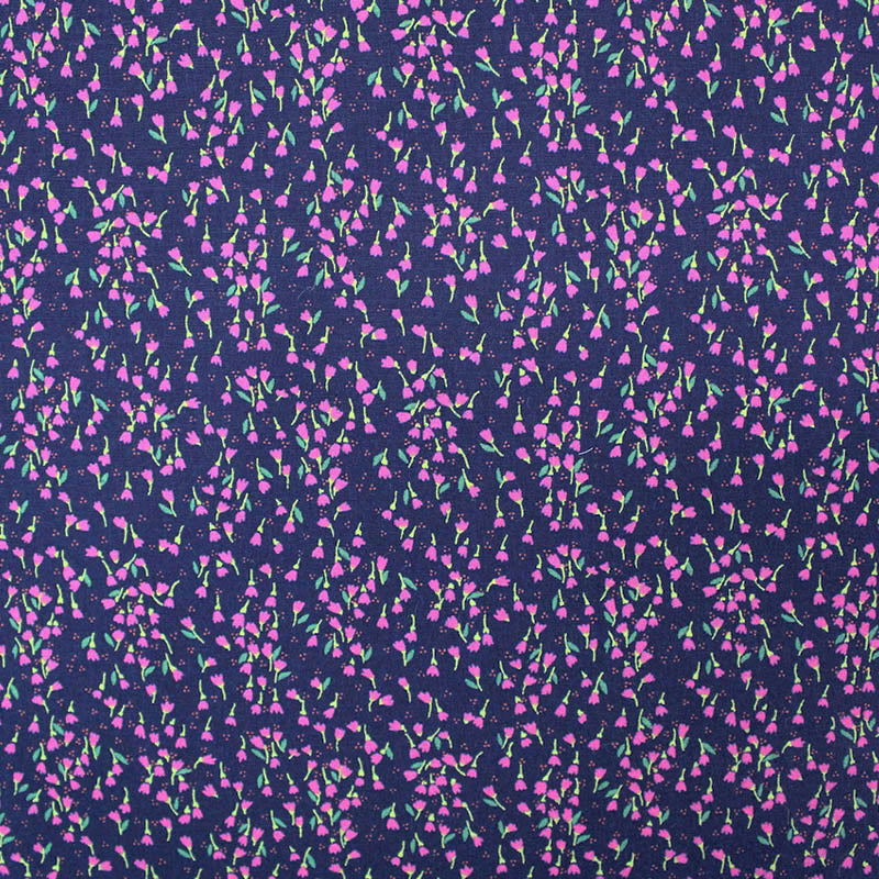 Printed Navy Floral Cotton - Falling Buds