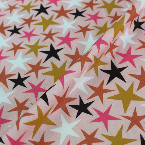 Printed Pink Cotton - Wonky Stars