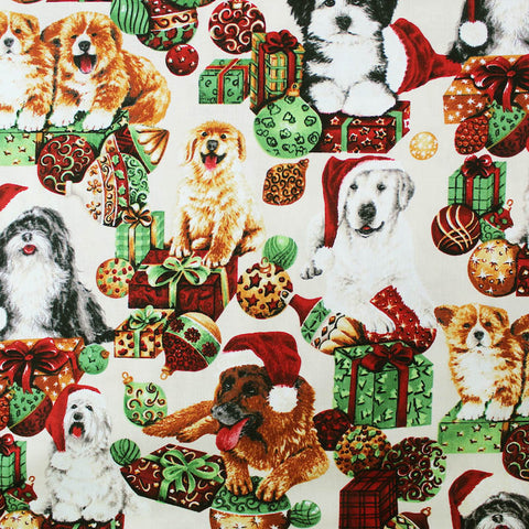 Printed Animal Cotton - Christmas Pups in Hats
