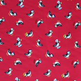 Red Printed Cotton - Puffin' Around