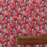 Printed Red Cotton - Geisha Dolls