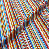 Printed Stripe Cotton - Blue, Orange and Yellow