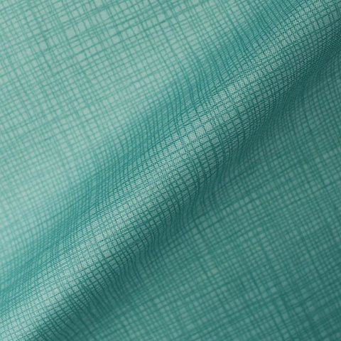 Printed Cotton Blender Turquoise Drawn Check - Arctic Circle