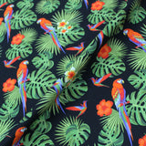 Printed Tropical Black Cotton - Perfect Peter Parrot