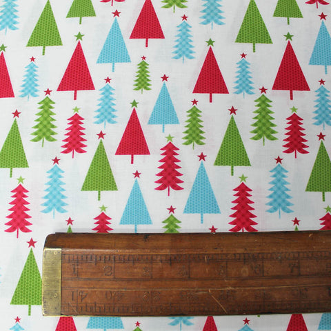 Christmas Cotton White Printed - Brightly Coloured Forest