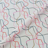 Printed White Cotton - Moving Pink Lines