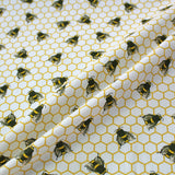 Printed Worker Bee White Cotton - Fallowfield