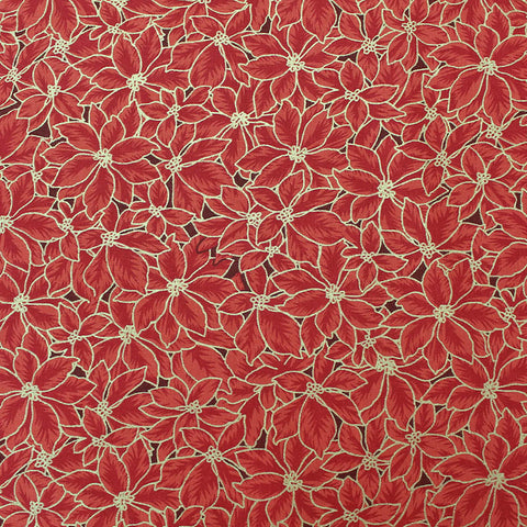 Red Christmas Cotton - Poinsettia Mosaic