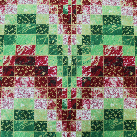Red and Green Christmas Cotton - Golden Squares