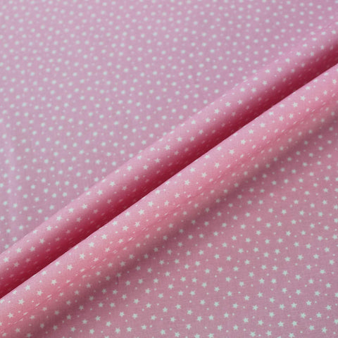 Printed Cotton Stars and Spots - Baby Pink