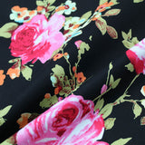 Stretch Cotton Sateen - Night Time Roses