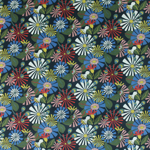Liberty Cotton Lawn Daisy Pop Reds and Green