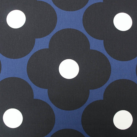 Orla Kiely Home Furnishing Fabric - Spot Flower - Dark Marine