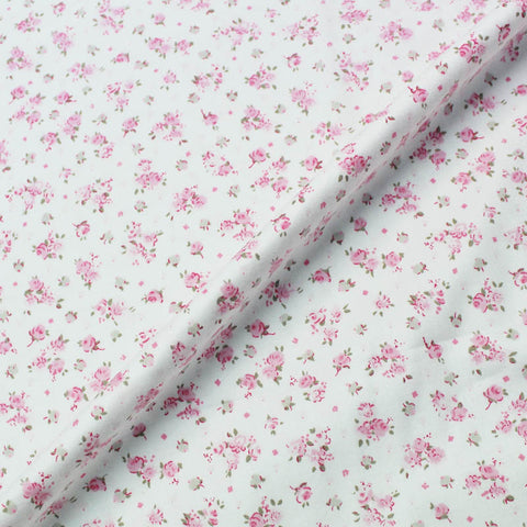 White Brushed Cotton - Floral - Pretty in Pink
