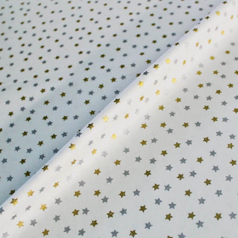 Printed White Christmas Cotton - Metallic Stars