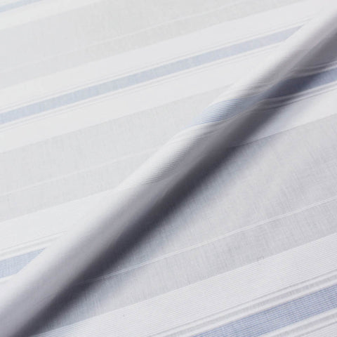 SPECIAL PURCHASE White Textured Cotton with Blue Stripe