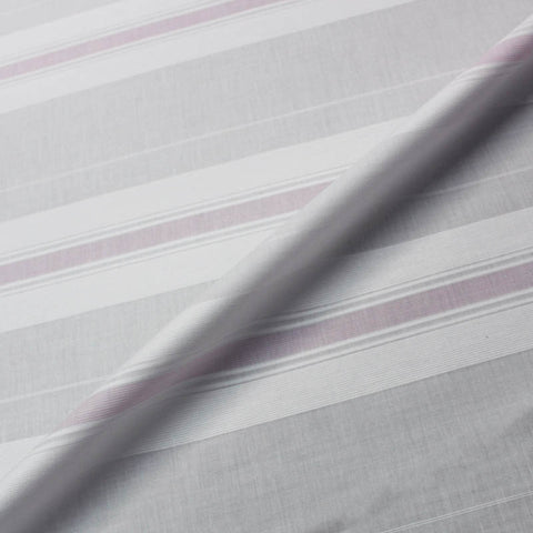 SPECIAL PURCHASE White Textured Cotton with Pink Stripe