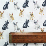 Dressmaking White Cotton Dog Print - Frenchie - Wide