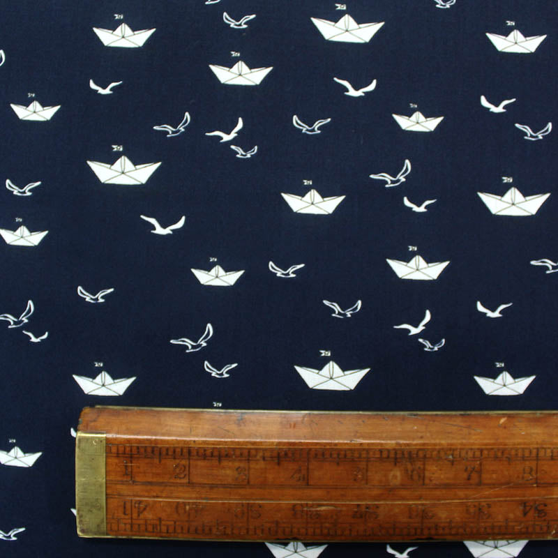 Dressmaking Cotton - Navy - Paper Boats - Wide Width