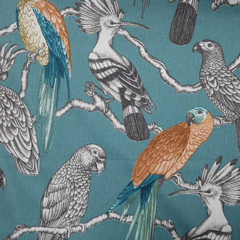 Bird Perch Home Furnishing Fabric - Teal and Orange