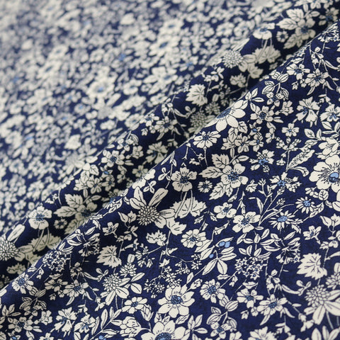 Autumn Flowers Cotton - Navy Blue