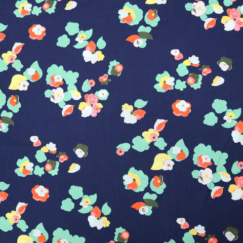 Summer Floral Viscose - Navy