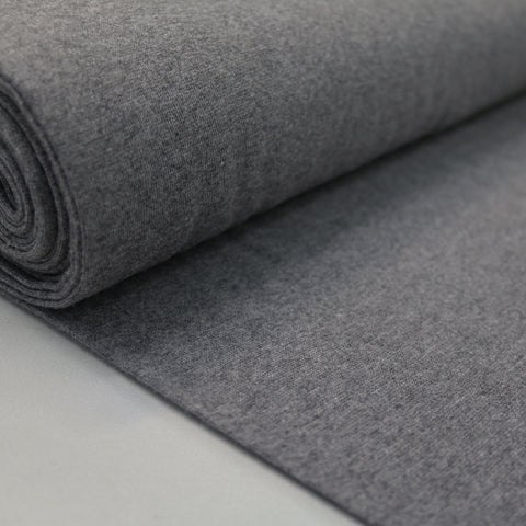1x1 Circular Marl Cotton Elastane Ribbing - Charcoal Grey