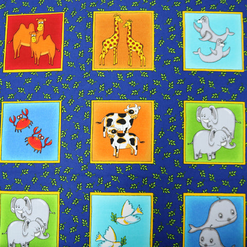 Cotton Noah's Ark Animal Panels 60cm x 112cm