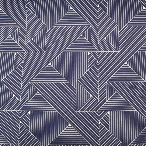 Geometric Grids Home Furnishing Fabric - Navy