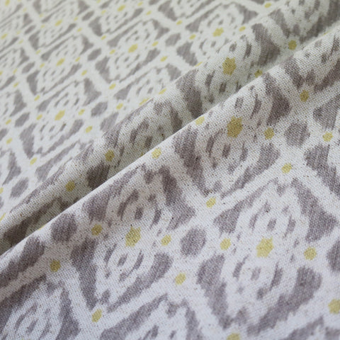 Home Furnishing Ikat Linen Mix Geometric - Stevie in Taupe/Yellow