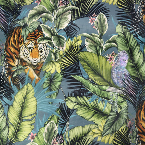 Hello Tiger - Velvet Home Furnishing Fabric - Blue