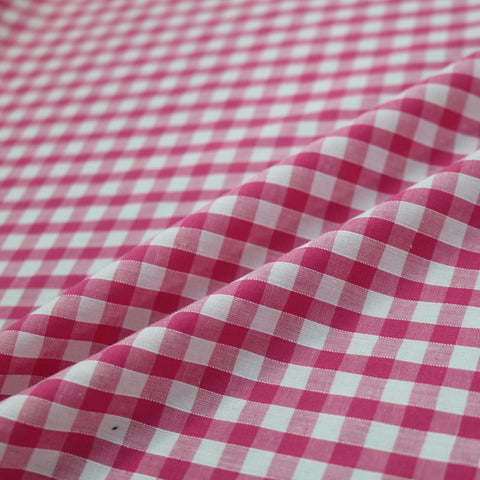 Corded Gingham - Cerise
