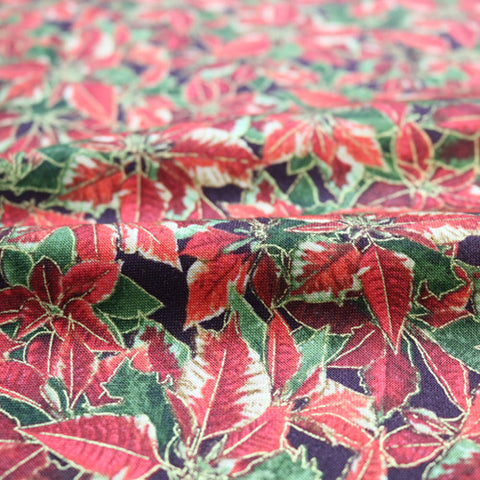 Poinsettia Leaves Christmas Cotton
