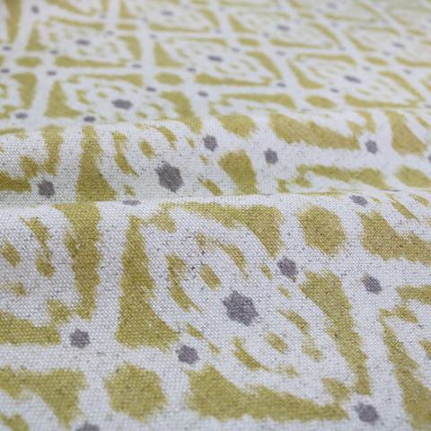 Home Furnishing Ikat Linen Mix Geometric -Stevie in Mustard Yellow