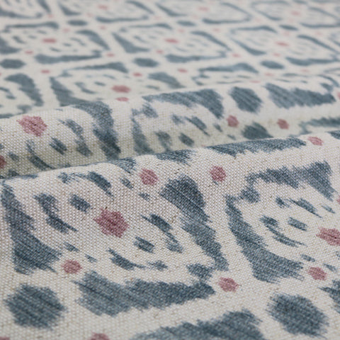 Home Furnishing Ikat Linen Mix Geometric -Stevie in Blue/Pink