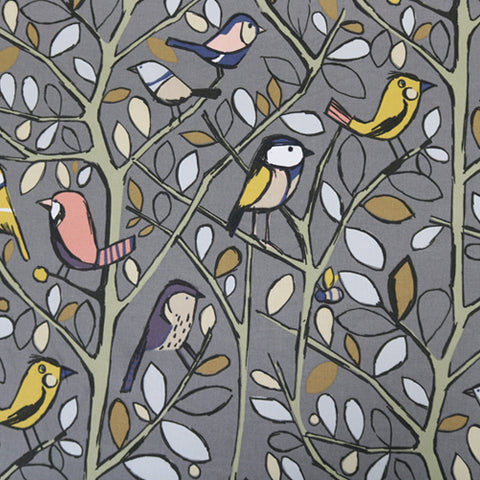 Bird Song Home Furnishing Fabric - Charcoal
