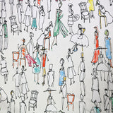 Drawn People Home Furnishing Fabric  - White
