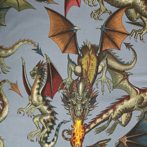 Tale of the Dragon Cotton by Alexander Henry - Blue Grey