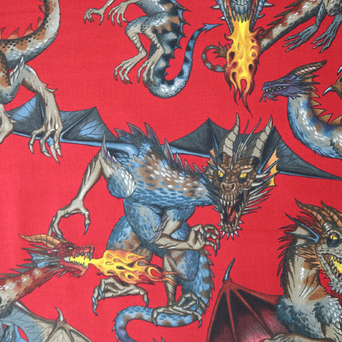 Tale of the Dragon Cotton by Alexander Henry- Red