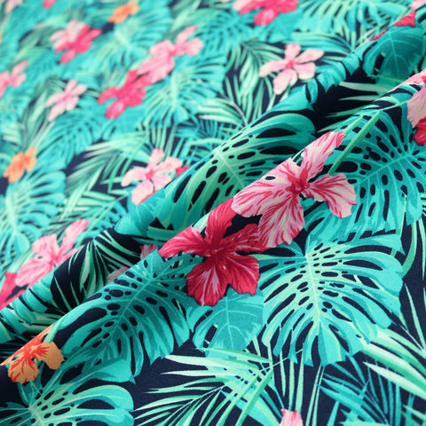 Tropical Palms & Flowers Print Cotton - Greens